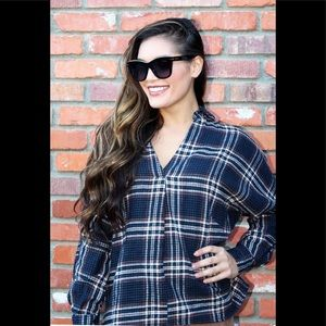Play It Cool Plaid Top in Blue & Rust